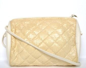 Vintage Beige Snake Skin Crossbody Bag Vtg Beige Leather Purse
