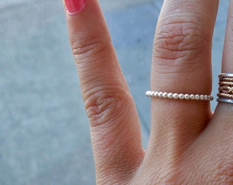 Delicate Small Bubble Sterling Silver Stacking Ring