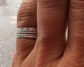 Set of 5 Tiny Sterling Silver Stacking Rings, Mix and Match Textures and Size, wear on pinky or knuckles, custom made to order