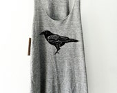 Raven  /  Screen Printed Tank  / Women's cut Razor back