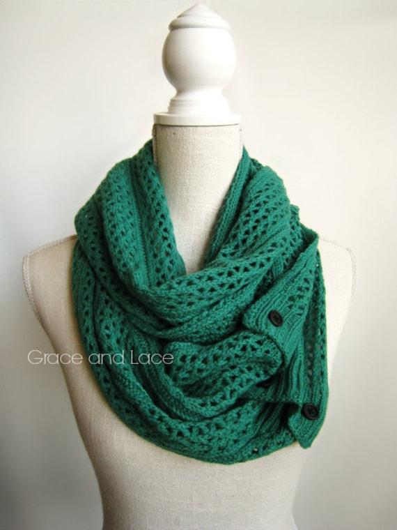 Open Knit Scarf Pattern : Nellie Knit Scarf EMERALD open weave knit by GraceandLaceCo