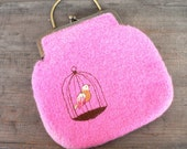 Knitted Felted Bag - Pink with embroidered bird in birdcage