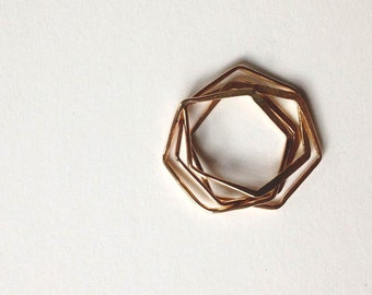 Hexagon nest ring, stackable ring, interlocking ring, handmade geometric puzzle ring, modern minimalist