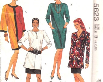 Loose Fitting Dress or Tunic and Skirt Pattern McCalls 5623 Sizes 8, 10, 12 Uncut