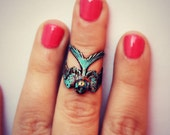 patina bird knuckle ring, midi ring, bird ring, turquoise knuckle ring, unique ring