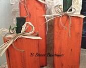 Set of 3 Wooden Pumpkins