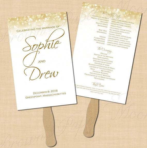 wedding program fans white gold sparkles wedding program fan 5 5x8 5 12386