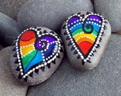 Happy Hearts Magnets / Painted Rocks / Sandi Pike Foundas / Cape Cod Sea Stones