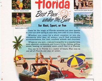 vintage ad for FLORIDA, Best Place Under the Sun, from 1951.