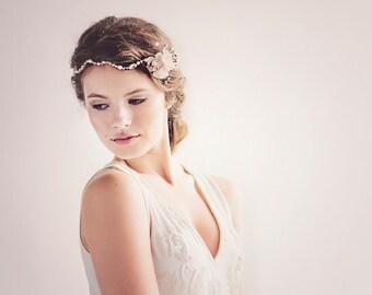 Custom Couture Rustic Wedding Headpiece - Boho Bridal Flower Crown - Bohemian Wedding Headpiece - The Andromeda Golden Headdress #205