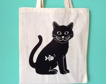 Cat Tote Bag, Black Cat Tote, Screenprint Tote, Happy Cat Bag, Animal Tote, Handprinted Tote Bag, Cute Tote Bag, Illustrated Tote, Cat Bag