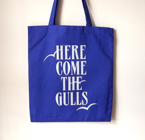 Beach Bag, Screenprint Tote, Typography Tote, Seagulls Tote, Blue Tote Bag, Quote Tote, Funny Tote, Screenprinted Bag, Cute Shopping Bag