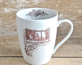 Mug with Boy and Giant, Child at Window and Ogre, Fantasy Book Coffee Cup, Ready to Ship