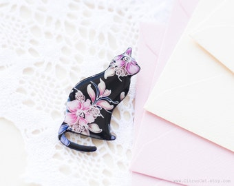 Black cat brooch with pink flower - elegant party jewelry