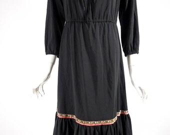 70s Black Boho Ethnic Dress - sm, med