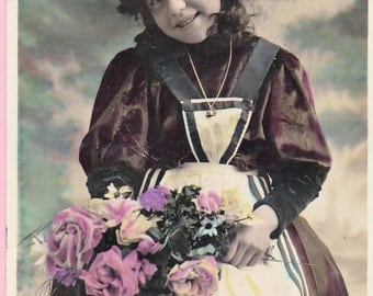 Ca 1909 Hand-Tinted French Victorian Friendship Greeting Postcard - 1004