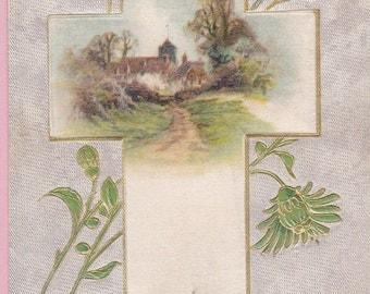 """Ca. 1911 """"Applied Cross"""" Easter Greetings Postcard - 1049"""