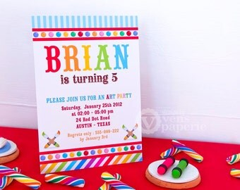 DIY PRINTABLE Invitation Card - Art Birthday Party Invitation - E1a