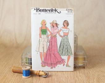 Waist 28, Button front, eight gore skirt, ruffled hem, prairie skirt style, Butterick  4199, Vintage 1970s Sewing Pattern