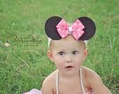 Minnie Mouse Ears Headband, Baby Minnie mouse ears headband, Photo Prop, Childrens Toddler Infant,Halloween Costume, Birthday Minnie Ears