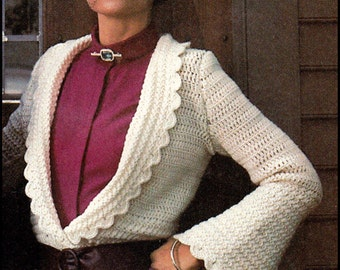 No.273 Crochet Pattern PDF Vintage Women's Scalloped Edge Cardigan - Retro Crochet Pattern - Instant Download