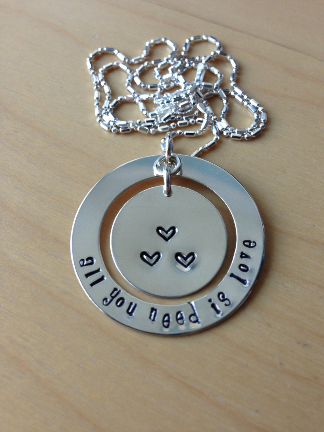 All You Need Is Love Sterling Silver, Hand Stamped Necklace