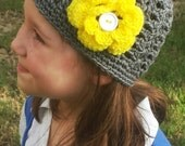 Crochet Shell Stitch Beanie with flower--  you choose the colors!