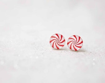 Marshmallow stud earrings - Candy jewelry - Peppermint jewelry - Gift for her - Free shipping / STD10