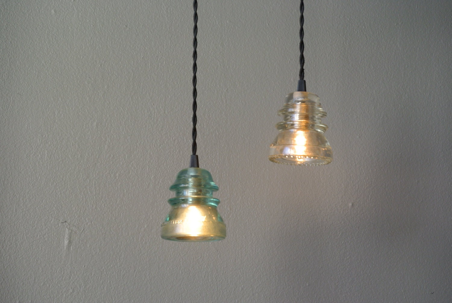 Insulator pendant light aqua or clear glass by pepeandcarols for Insulator pendant light