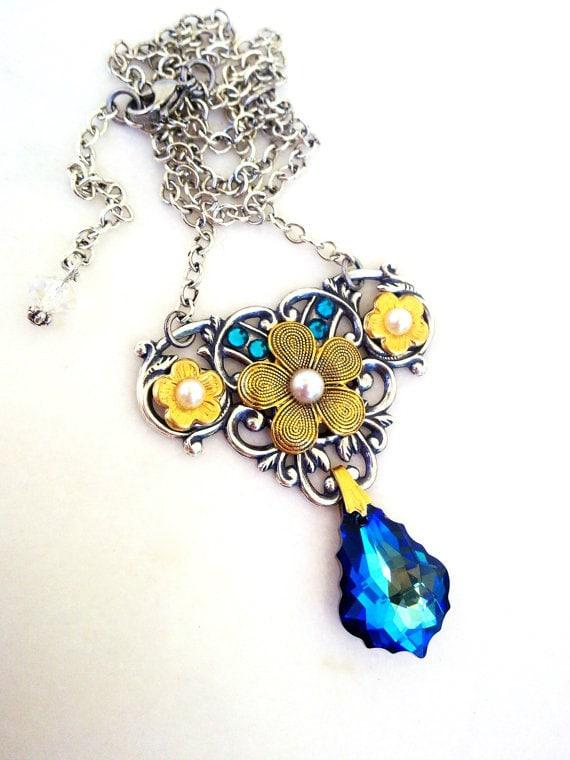 Romantic Gothic Swarovski Necklace, Bermuda Blue Crystal, Floral, Vintage Style Jewelry