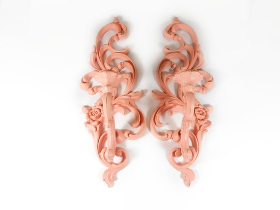Pink Wall Sconce Candle Holder : Pink Wall Sconce Ornate Wall Hanging Candle Holder Upcycled