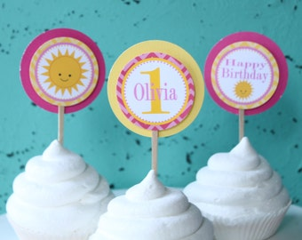You Are My SUNSHINE Happy Birthday or Baby Shower Cupcake Toppers Set of 12 {One Dozen} Yellow Pink Chevron