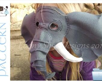 Elephant Mask PATTERN- kids elephant costume sewing pattern pdf.