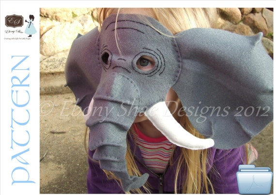 Elephant Mask PATTERN- kids elephant costume.