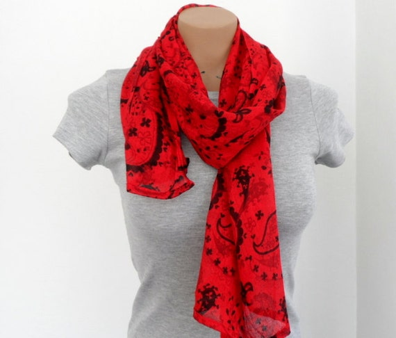 Red Scarf Womens Scarves Long Scarf  Cotton Scarf  Women  Red Neck Scarves For Women