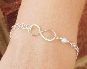 Pink Pearl Infinity Bracelet - Bridesmaid Gift - Best Friend Eternity Friendship - Sterling Silver Infinity Bracelet