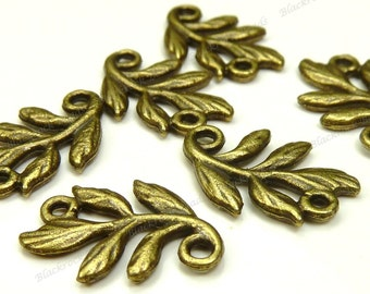 20 Leaf Branch Connectors - Antique Bronze Tone Metal - 14x10mm - 2 Loop Links, Double Sided, Vine, Charm, Pendant - BK34
