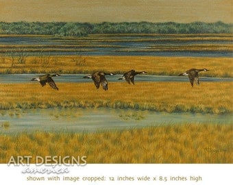 Canada Geese in Flight, Original Pastel Painting, Bird Drawing, Goose Art, 12 x 8.5 Gold Ochre Mat Board, SFA, Small Format Art, ADA-OA372