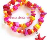 "BEACH ANKLE WRAP Anklet,9.75 "", Howlite starfish, Red, Pink,  Orange, Summer Fun, Australian Made"