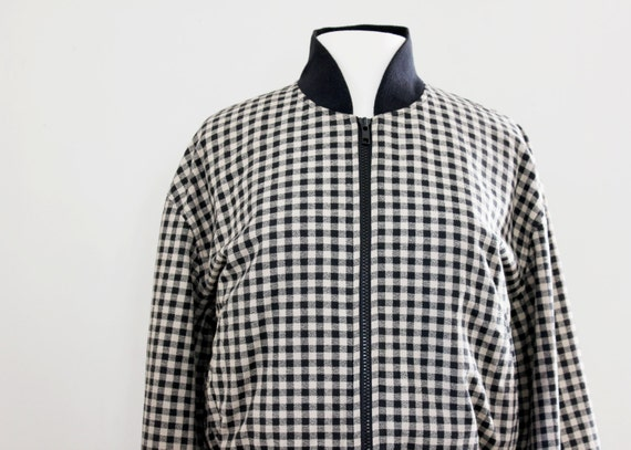 Vintage Gingham Bomber Jacket - Black and Gray Checkered Jacket - Size Small to Medium