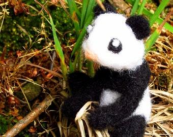 Needle felted panda, wool felt panda bear, black and white animals