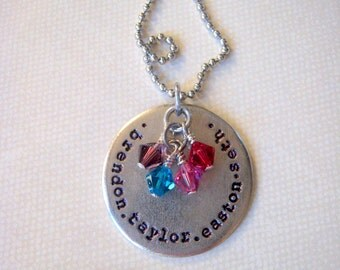 Mothers Grandmothers necklace hand stamped metal personalized with names or words on antiqued silver circle birthstones