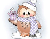 Digital (Digi) Cute Owl Stamp 'Ozzie with Gift' . Makes Cute Christmas Cards.