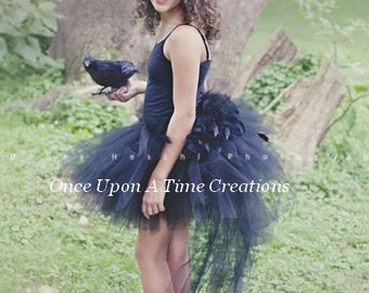 Ready To Ship Black Swan Feather Bustle Tutu - Girls Size 12M 2T 3T 4T 5T 6 8 10 12 Adult Birthday, Photo Prop, Dress Up, Halloween Costume