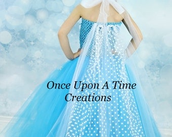 Snowflake Princess Tutu Dress w/ Polka Dot Sheer Tulle Cape - Girls Size 6 12 18 Months 2T 3T 4T 5T 6 7 8 10 12 - Turquoise Silver White