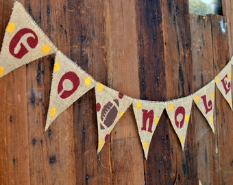 GO NOLES Burlap Banner for Florida State University Football