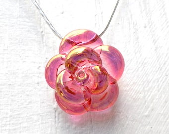 Pink Rose Necklace Glass, Hand Blown Lampwork Flower Pendant, Pink and Gold Glass Rose
