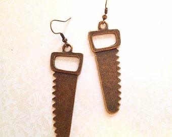 Miniature Brass Saw Earrings. Teeny Knife Saws. Tools. Weapon. Antique Gold. Dangle Earrings. Building. Halloween. Under 15. Kitsch.