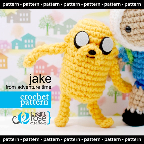 Adventure Time Jake Amigurumi Pattern : Instant Download Jake from Adventure Time amigurumi