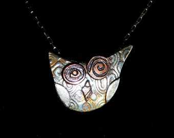 "Funky textured Owl Necklace with Sterling Silver and Copper 18"" chain"